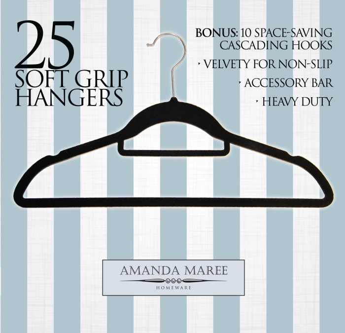 Amanda Maree Homeware  – Black Velvet like Hangers